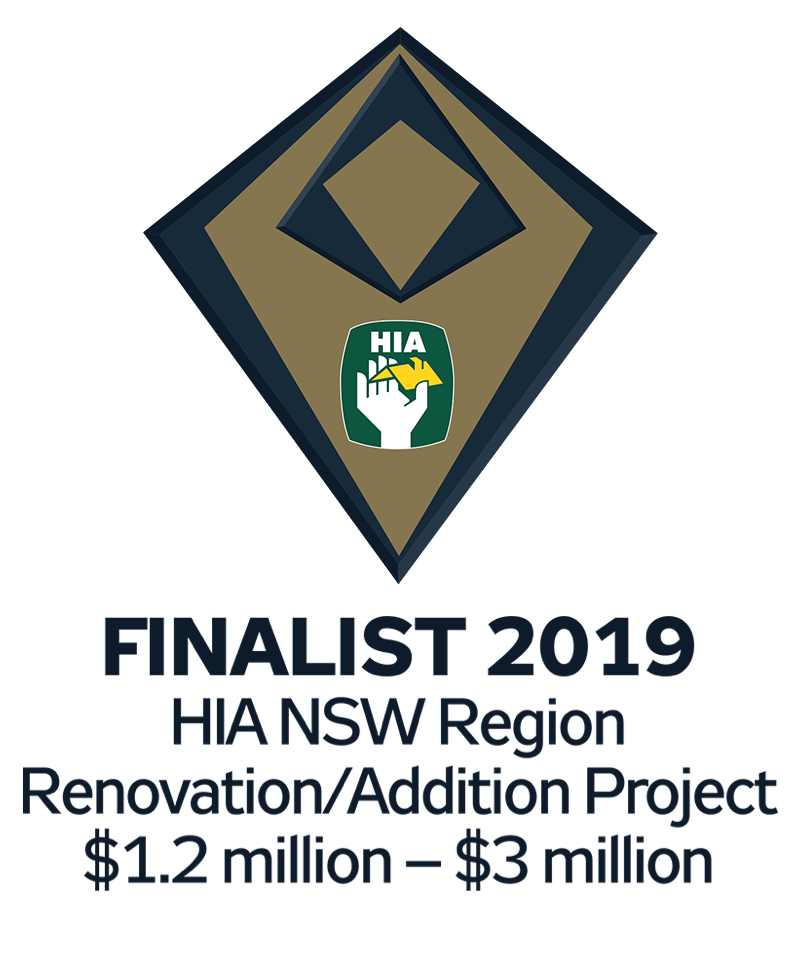 Finalist 2019 Award for HIA NSW Region - Renovation/Addition Project ($1.2 million - $3 million)